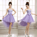 Cheap Short Sweetheart Junior Bridesmaid Dresses 2017 Fashion New Hi Lo Lace Bow A line Dress