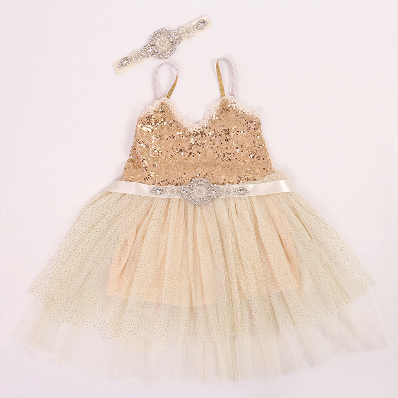 Luxury Rhinestone/Peals Handcrafted Baby Girl Party/Wedding Dresses Kid/Child Sequin/Mesh/Pleated Princess Dresses+Headband+Belt<br><br>Aliexpress