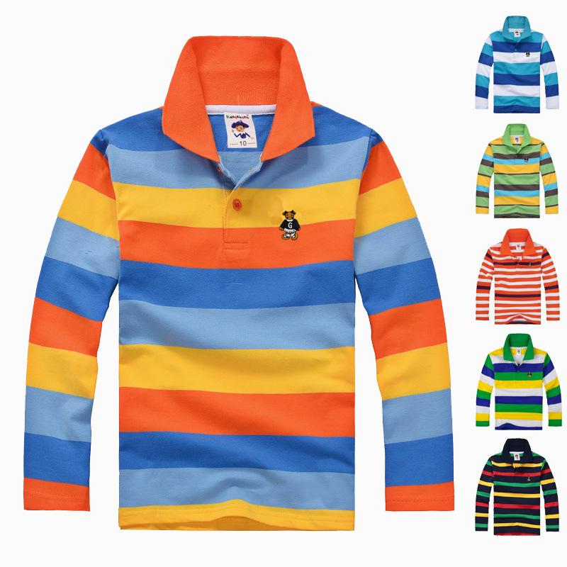 Гаджет  2015 New Fashion Kids Boys Clothes  Big Boys Clothing Autumn Winter Sport Striped T Shirt  2 3 4 5 6 7 8 9 10 11 12 Years None Детские товары