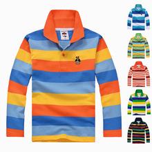 2 015 Новые Мода Дети Мальчики Одежда Мальчики Одежда Большие Осень Зима Спорт Полосатый Футболка 2 3 4 5 6 7 8 9 10 11 12 лет