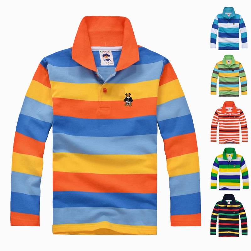 high quality boys clothes for kids toddler big boy clothing children long sleeve 100% cotton spring autumn striped polo shirt(China (Mainland))