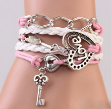 3Pcs Handmade Leather Bracelets Heart Love Arrow Key Charm Pink Leather Wrap Bracelets Rope Women Leather Cuff Bracelet Jewerly(China (Mainland))