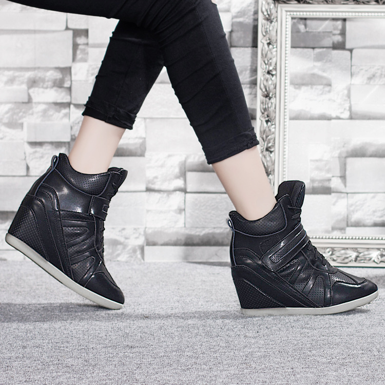 Hot-selling 2015 women brand platform shoes woman velcro wedges elevator shoes thick soled high top ankle ladies casual boots<br><br>Aliexpress