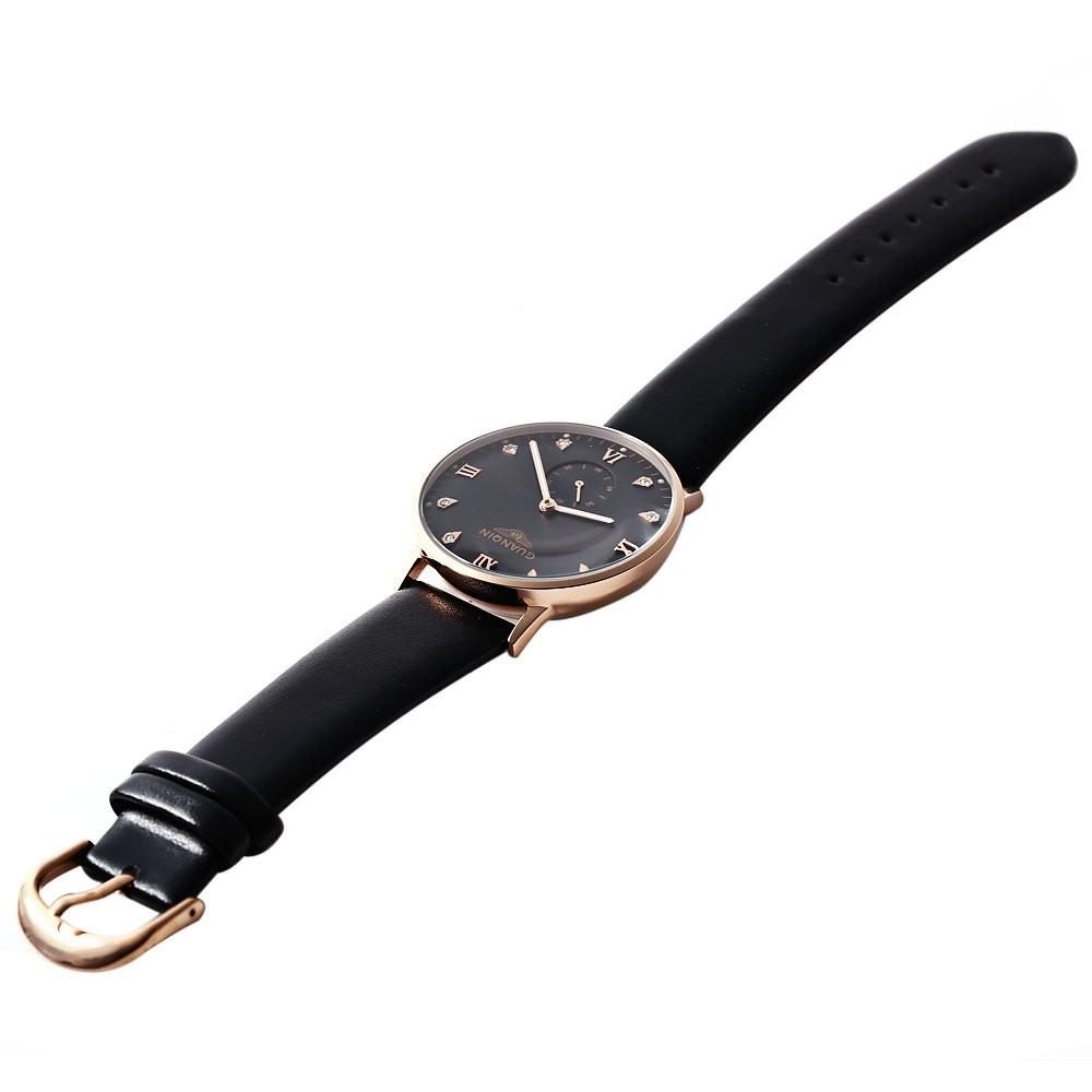 GUANQIN GJ16016 Модные Мужские Кварцевые Часы Искусственный Алмаз Круглый Циферблат Кожаный Ремешок Для Часов