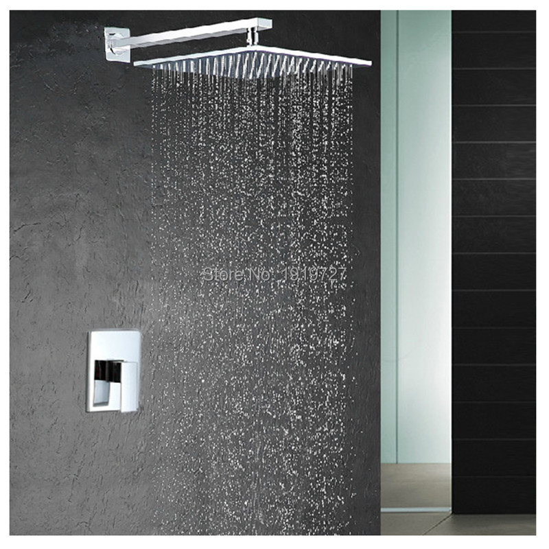 Factory Direct Modern Square Style Water Saving 10 Inch Shower Head Bathroom System Pressure Balance Wall Mounted Shower Set(China (Mainland))
