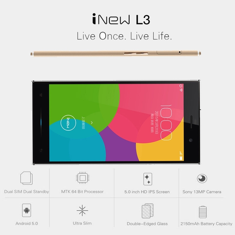 Original iNew L3 Cell Phones MTK6735 Quad-Core 2G RAM 16G ROM Android 5.0 OS 5.0″ OGS Screen 13.0MP Camera 4G LTE Smartphone