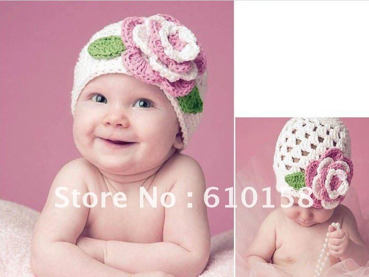 fashion flower baby crochet hat kids knitted beanies infant handknitted spring autumn hats childrens hats baby cap 10pcs/lot(China (Mainland))