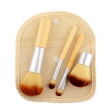 Hot New Portable 4Pcs Bamboo Handle Cosmetics Powder Makeup Beauty Brush Set free shipping