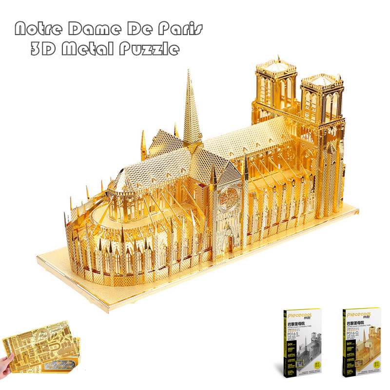 PieceCool 3d Metal Puzzle of Notre Dame De Paris Silver & Gold Color DIY 3D Assembled Architectural Model Jigsaws for Kids Toys(China (Mainland))