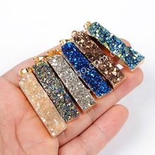 Fashion Jewelry Gold Plated Rectangle Natural Agate Titanium Druzy Bar Pendant Bead Making Necklace G0651