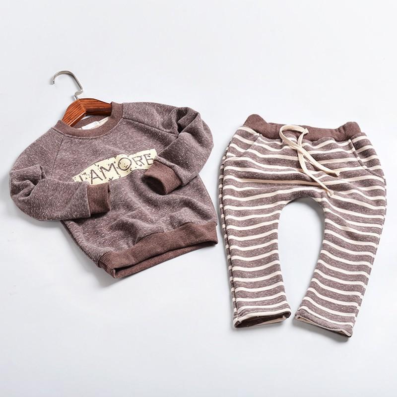 Мальчик одежда из хлопка детская одежда с длинным рукавом детская одежда комплект сгущать костюм комплект ребенок комплект осень Roupas Infantis CCT97