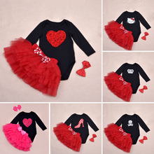 Baby Ruffle Skirts Set Lovely Cat print Girls Saia Tutu Pettiskirt Party Dance Skirt Sets Crossbones Bodysuit and Headband(China (Mainland))