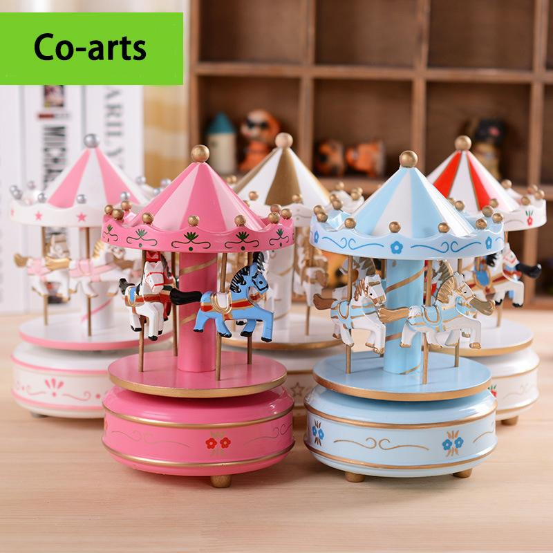 European style color carousel music box to send his girlfriend children's Christmas gift mechanical music box(China (Mainland))