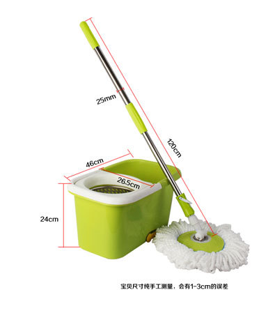 Manufacturers selling Bok green apple double drive mop water dry rotation stainless steel magic mop wholesale free shipping(China (Mainland))