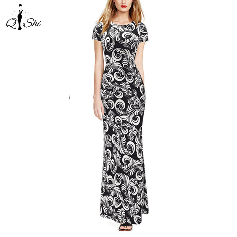 Womens 2016 Spring Summer Elegant Vintage Print Pinup Short Sleeve Casual Party Fit Bodycon Pencil Long Maxi Dress(China (Mainland))
