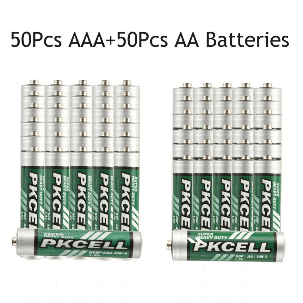 Сухая электрическая батарея PKCELL 50 AAA 1.5V + 50Pcs 1.5V 2A/3A 1.5volts R03P/UM-4/AAA