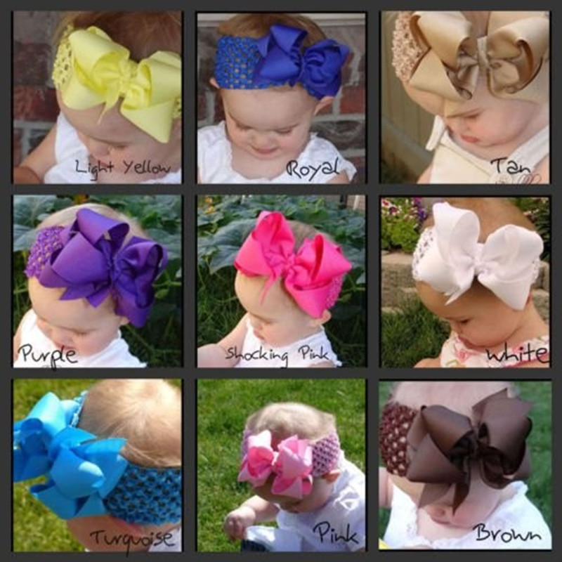 1pcs 5.5 INCH kids baby girls solid hair band ribbon bows headband elastic flower head wraps accessories ornament girls headwear(China (Mainland))