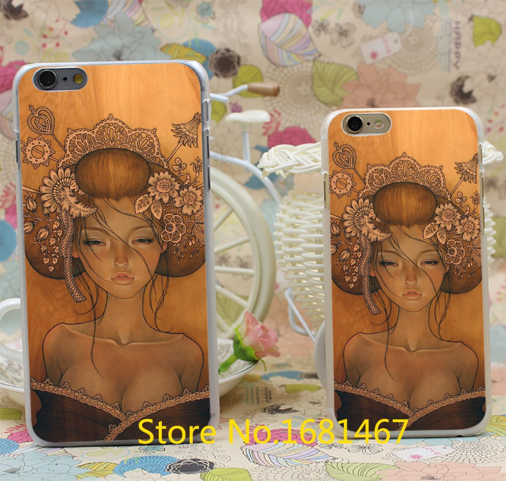 Retro Sexy Girl audrey kawasaki Transparent Hard Style For iPhone 6 6s 6g 6+ 6 plus Clear Cover New arrival(China (Mainland))