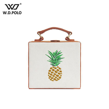 WDPOLO New embroidery pineapple women handbag super chic lady bags messenger chain easy take off shoulder bags girl love z1094(China (Mainland))