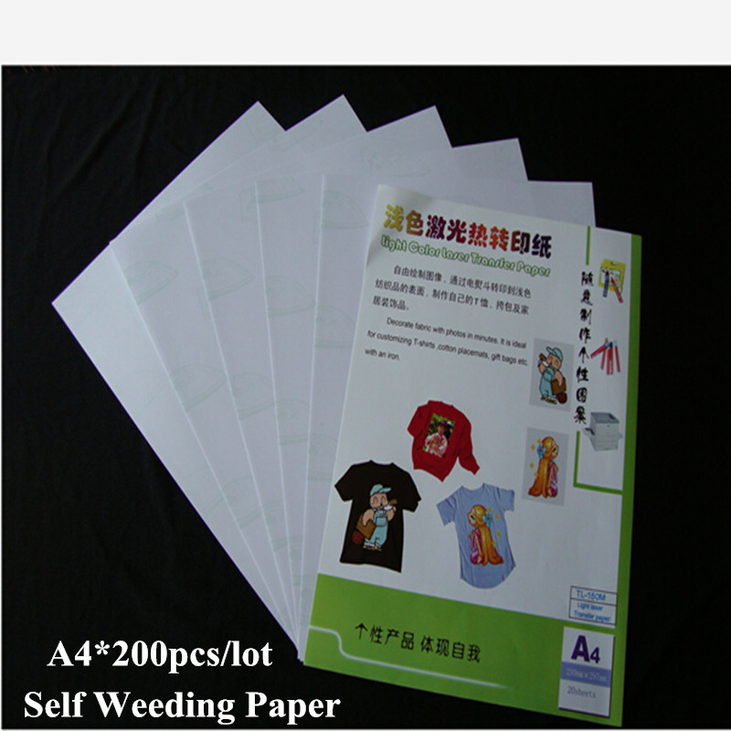 Self Weeding Paper A4*200pcs/lot White Toner Laser Heat Transfer Paper No Need Cutting Heat Transfers Sticker For Clothes(China (Mainland))