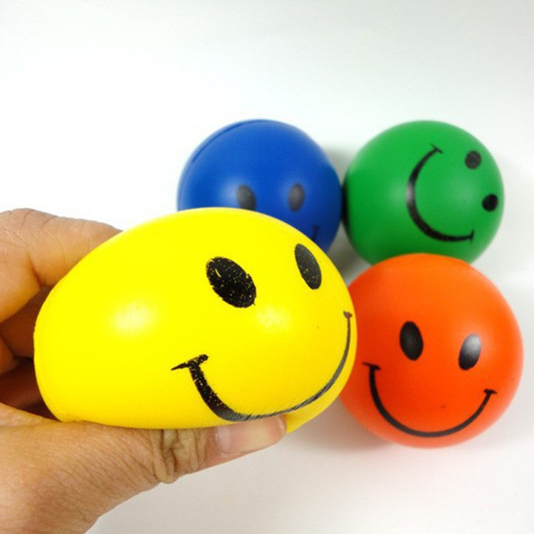 1000pieces per lot Squeeze Balls 6.3cm Hand Wrist Exercise Stress Ball PU Rubber Toy Balls Smile Face Print Stress Ball(China (Mainland))