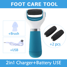 2in1 cura di piede strumento con usb + 2 di ricambio teste a rulli piedi pedicure file elettrico per le gambe MFO-18(China (Mainland))