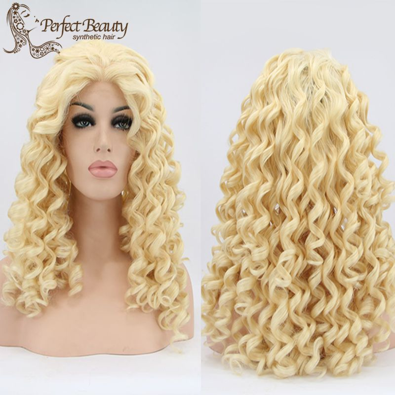 Golden Wig Kingky Curly Synthetic Lace Front Wig Heat Resistant Fashion Idol Haircute Anime Cosplay Cute Short Haircuts<br><br>Aliexpress