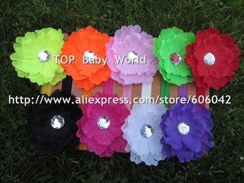 New design fluorescence color peony flower with 1.5cm baby headbands  hiar bands hair accessories 50pcs/lt free shipping