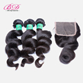 8A Malaysia Virgin Hair Weave With Closure Loose Wave 3pcs Hair Weft With Lace Closure Human