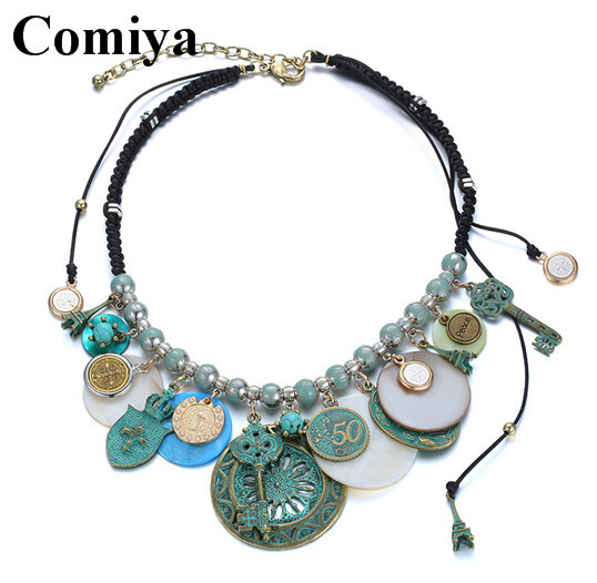Foreign trade Euramerican fashion exaggeriated gold plated tossels shell necklaces with turquoise coin rope chains necklaces(China (Mainland))