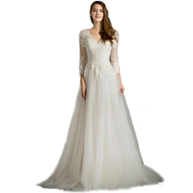 2016 новое поступление длинные рукава длинные кружева беременным свадебные платья ...