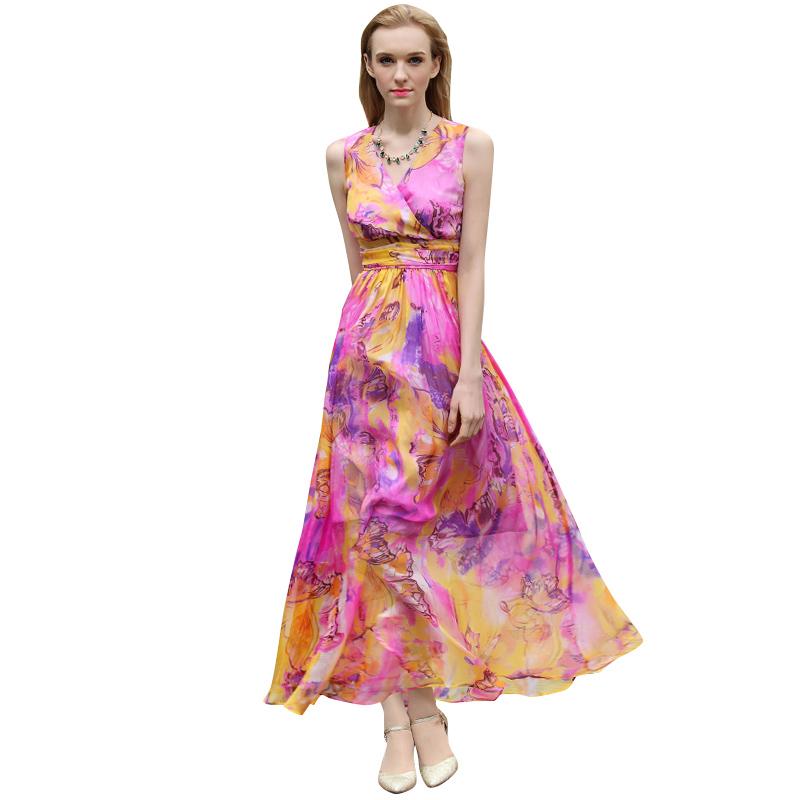 S- XXXL Real Silk Printed Women Summer Maxi Dress V-neck Sleeveless Swing Long Beach Dresses Plus Size Clothng Purple(China (Mainland))