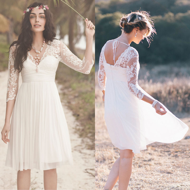 2015 lace bohemian wedding dresses under 100 long sleeves for Long wedding dresses under 100