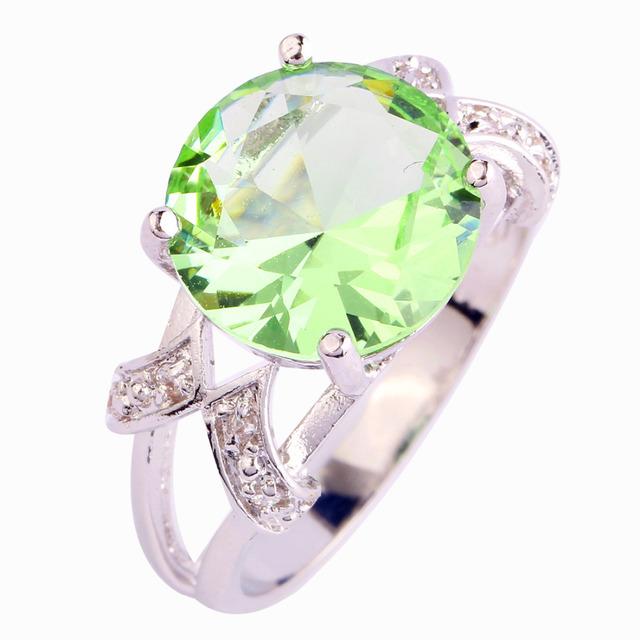 Weiling новый зеленка аметист 925 серебряное кольцо круглого сечения размер 6 7 8 ...