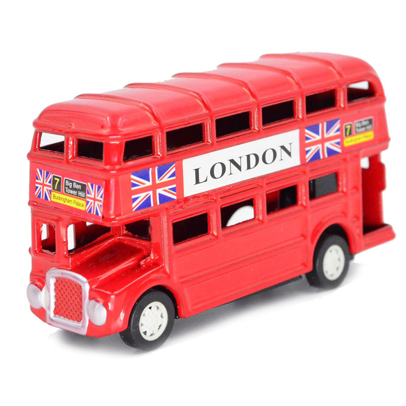 London Style Jack Union Red Double Layer Inertia Bus Model Diecast, with Pencil Sharpener 8.9cm*4.8cm*2.6cm(China (Mainland))