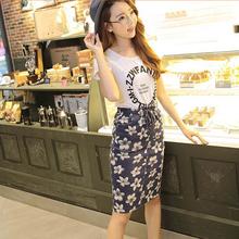 New summer fashion Korean women floral print skirt high waist women slim skirt
