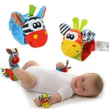 2016 Hot 2Pcs Wrists Infant Baby Kids Wrist Rattles Cute Intellectual Developmental Toys Animal High Quality Free Shipping Y849