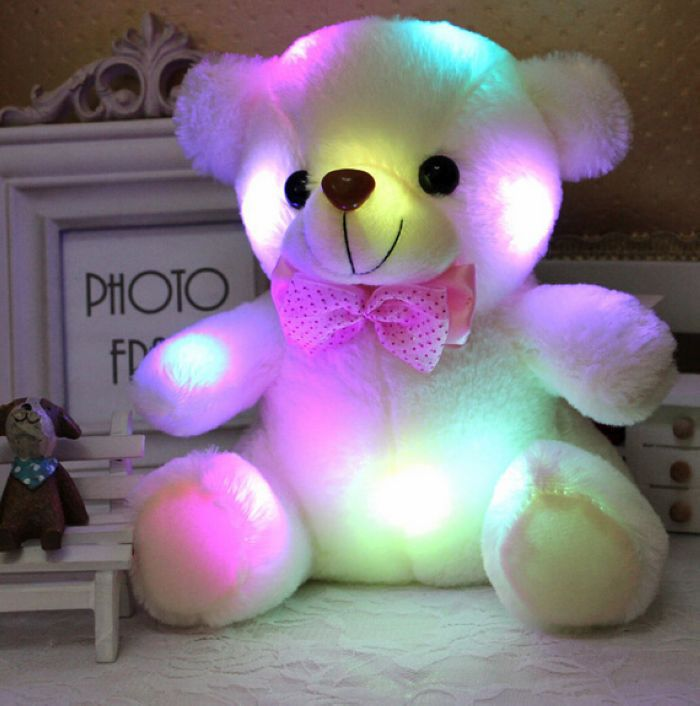 2015 new plush small colorful glowing bear light pillow teddy model birthday gifts, Christmas years gift - A-Plus store