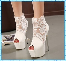 women summer boots 2016 lace pumps women party shoes platform pumps white wedding shoes stiletto heels open toe dress shoes C992(China (Mainland))