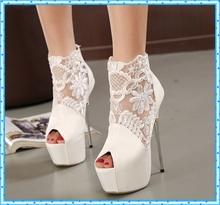 women summer boots 2015 lace white pumps women party shoes platform pumps wedding shoes stiletto heels open toe dress shoes C992