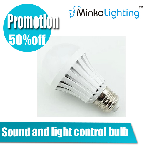 Sound Control LED 5W 7W E27 Light bulb Voice Activated Intelligent Lamp Cold warm White 220V - MINKO Lighting store