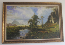 Framed Handpainted Home Decorationa American-style mountain scenery stream Oil Paiting(China (Mainland))