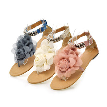Big Size 34-43 Bohemia 2015 Sandals Female Beaded Flower FLat Flip-flop flats Summer Women's Shoes zapatos mujer(China (Mainland))