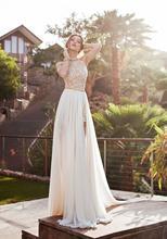 2017 New Sexy Fashion Julie Vino High/low Backless Lace Chiffon Wedding Dresses Halter Sleeveless Sheath Sweep Train Pearl Bead(China (Mainland))