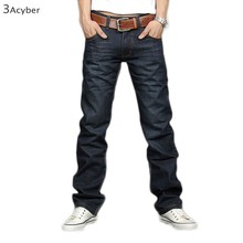 Korea Slim Fit Classic Mens Jeans Trousers Straight Leg Blue Size 30~34 Button New 12(China (Mainland))
