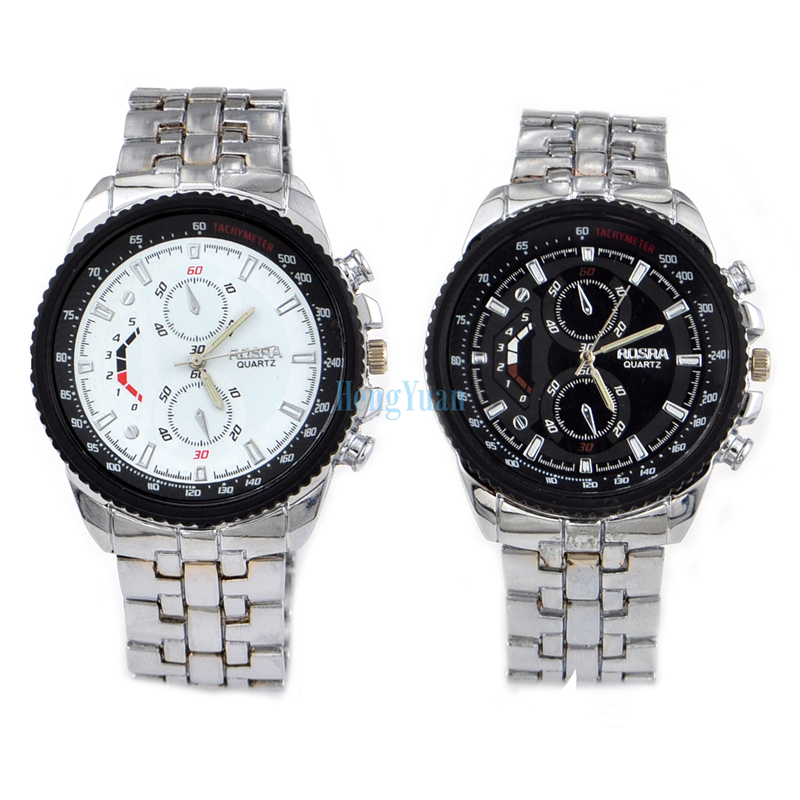 rosra brand watch men sports watches big dial sterling silver quartz watch men full steel watch