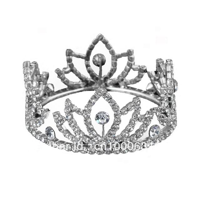 Free Shipping Hot Sale 6pcs/lot Fashion Crystal Children's Tiara Rhinestone Flower Wedding Mini Crown Silver Plated Jewelry