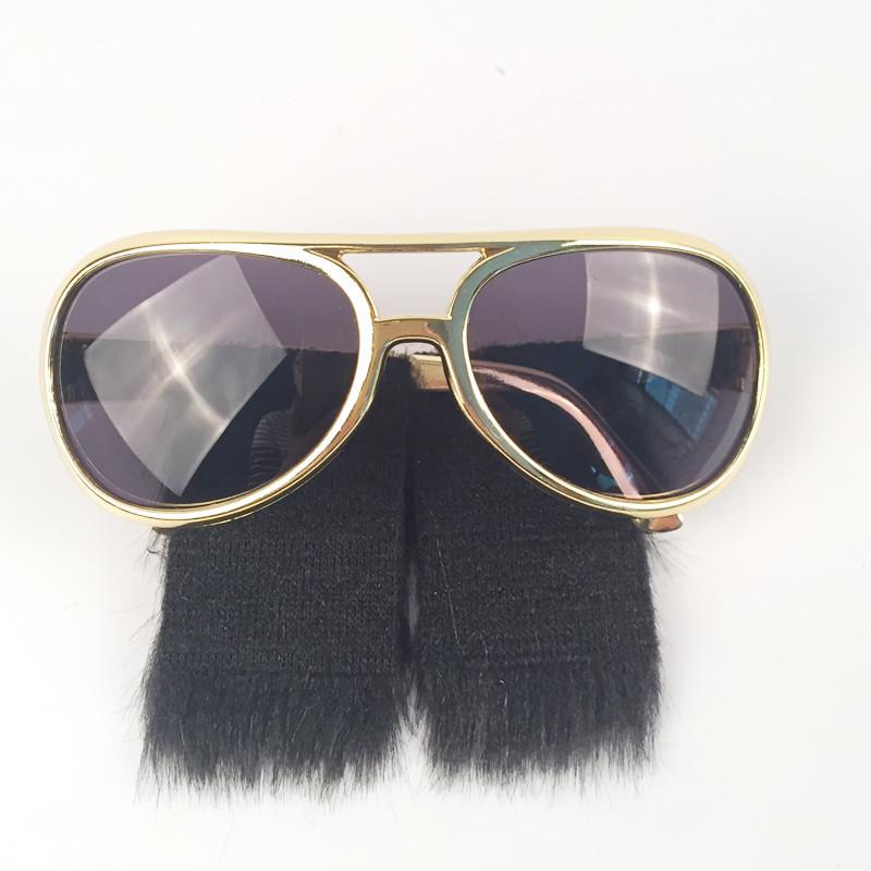 Gold Frame Classic Elvis Costume Sunglasses w//Sideburns