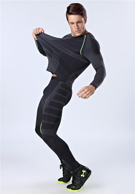 Новое поступление мужчин спорта установить [ топ + брюки ] с длинным рукавом футболка ...