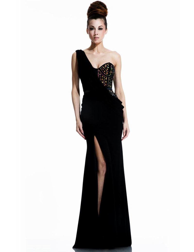 Sexy Black One Shoulder Prom Dresses Shiny Beading Ruffles Side Slit 2016 Party Dress Long vestido de festa(China (Mainland))